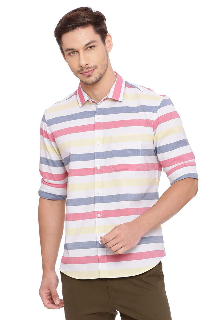 BASICS SLIM FIT CLARET RED WEFT STRIPES SHIRT-18BSH38929 (4491483512913)