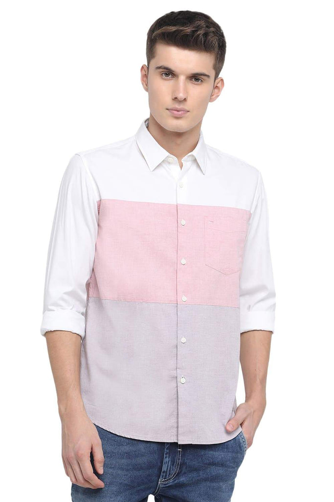 BASICS SLIM FIT CLOUD WHITE COLOR BLOCK SHIRT-18BSH39285 (4491555700817)