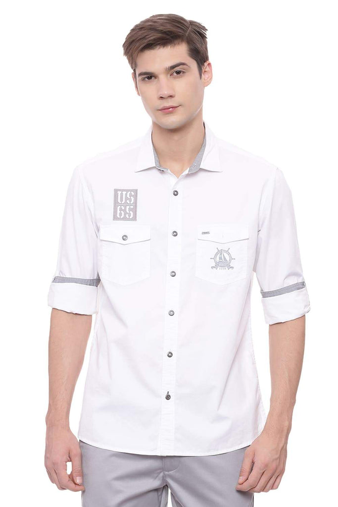 BASICS SLIM FIT CLOUD WHITE TWILL SHIRT-18BSH37795 (4491105730641)