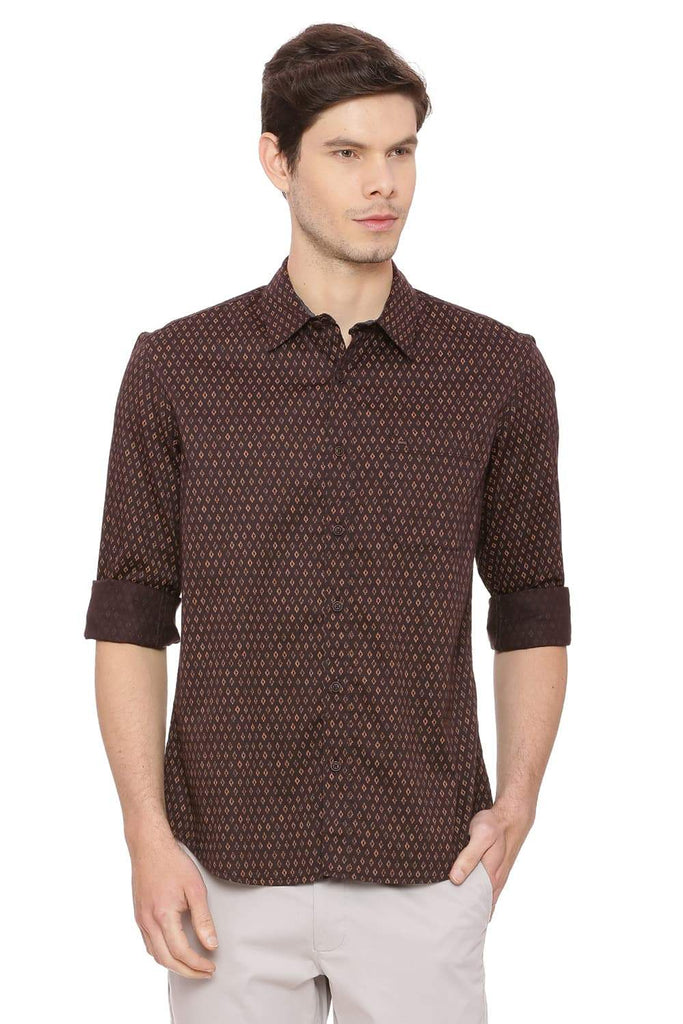 Basics Slim Fit Coffee Brown Shirt Front