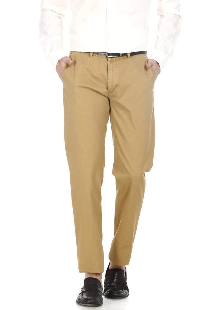 BASICS SLIM FIT COFFEE DOBBY WEAVE RIBBED TROUSERS-17BCTR38200 (4490938908753)