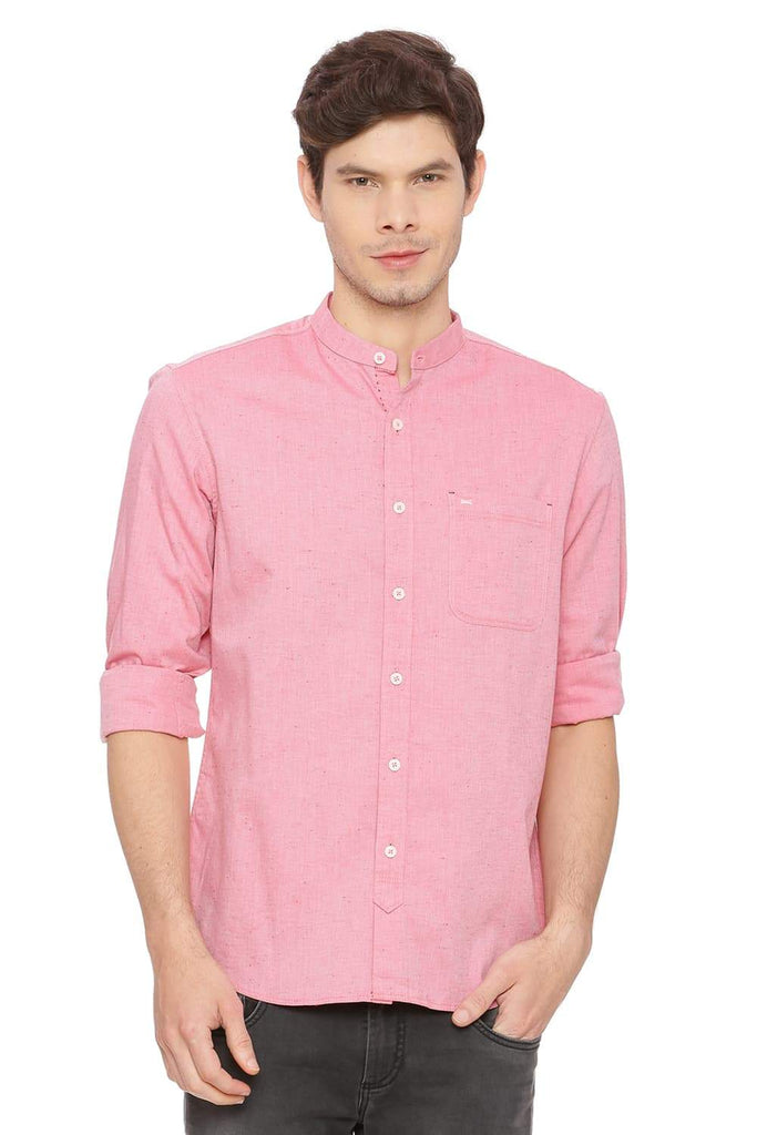 BASICS SLIM FIT CORAL RED NEPS SHIRT-18BSH38995 (4491499012177)