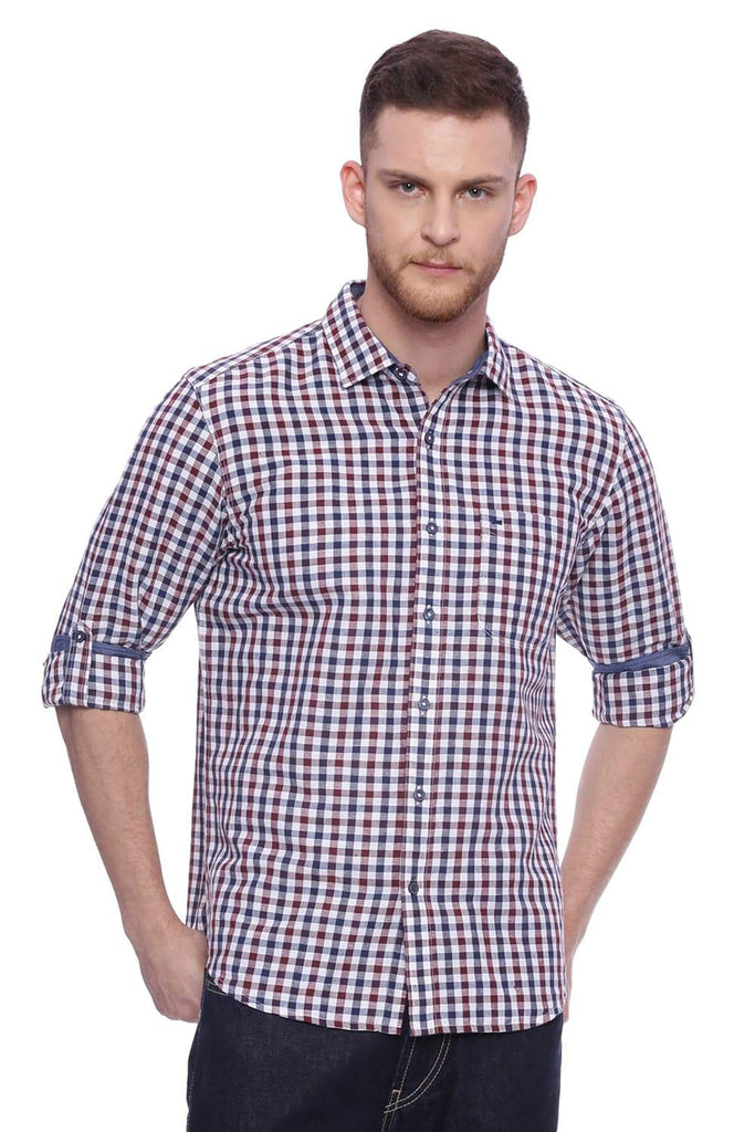 Basics Slim Fit Cordovan Maroon Checks Shirt Front