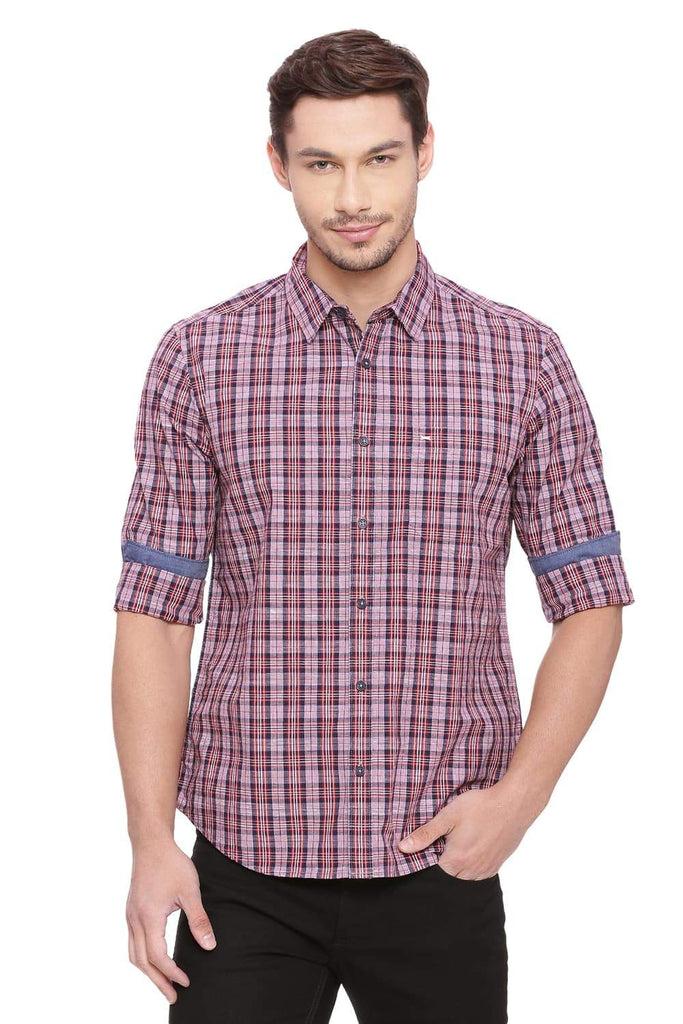 BASICS SLIM FIT CORDOVAN RED CHECKS SHIRT-18BSH38755 (4491356635217)