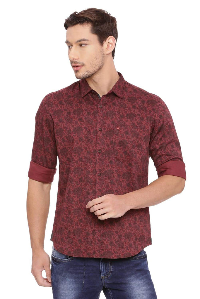 Basics Slim Fit Cordovan Red Shirt Front
