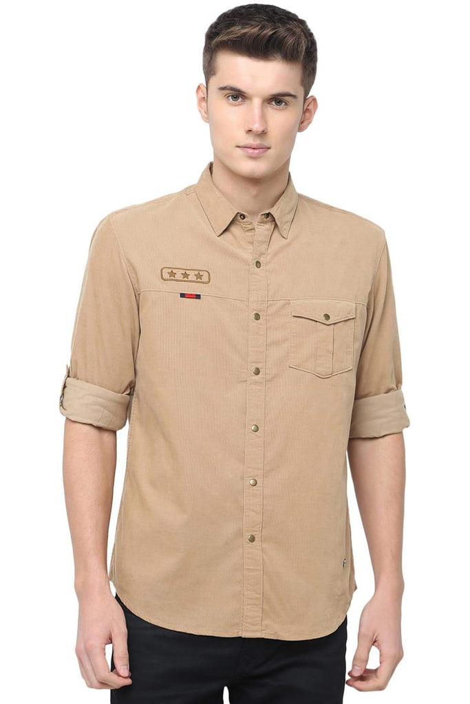 BASICS SLIM FIT CORNSTALK BEIGE CORDUROY SHIRT-18BSH38665 (4491554127953)