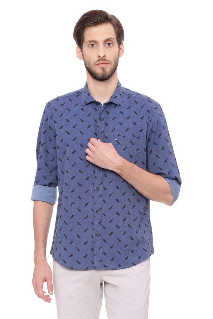 BASICS SLIM FIT CORONET BLUE MELANGE PRINTED SHIRT-18BSH39256 (4491153014865)
