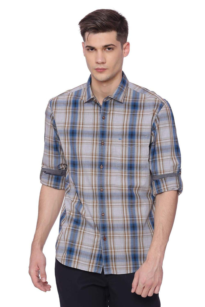 BASICS SLIM FIT CORSAIR TURQUOISE CHECKS SHIRT-18BSH37378 (4491067392081)