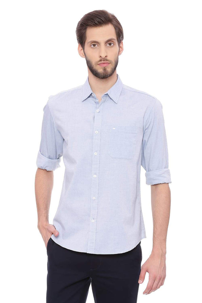 Basics Slim Fit Corsair Turquoise Oxford Shirt Front