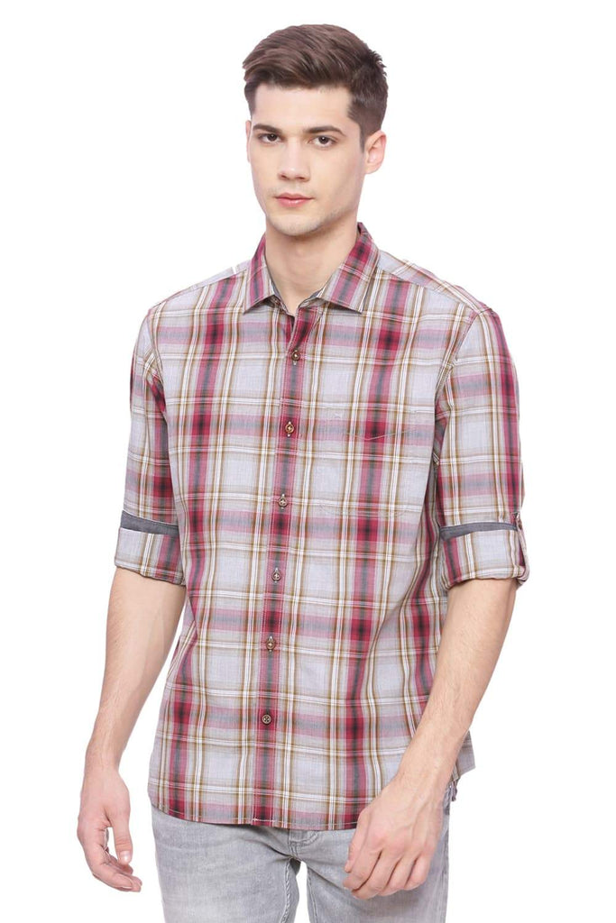 Basics Slim Fit Cowhide Red Checks Shirt Front