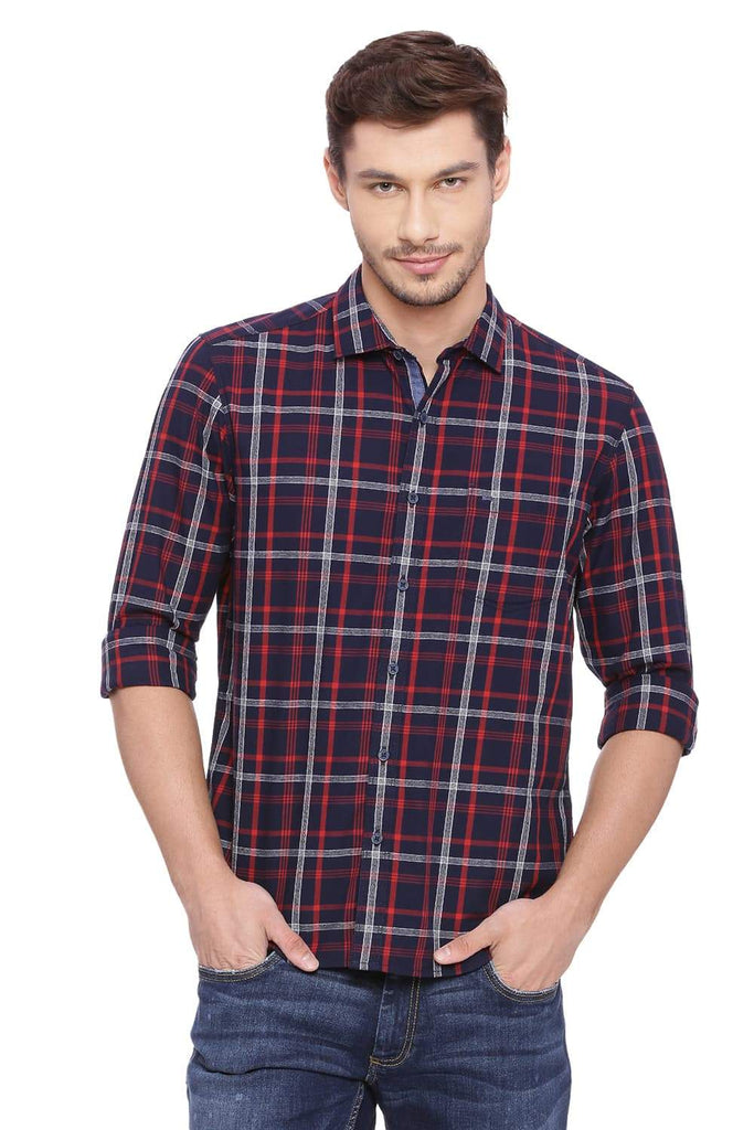 BASICS SLIM FIT CRANBERRY RED CHECKS SHIRT-18BSH38608 (4491261018193)