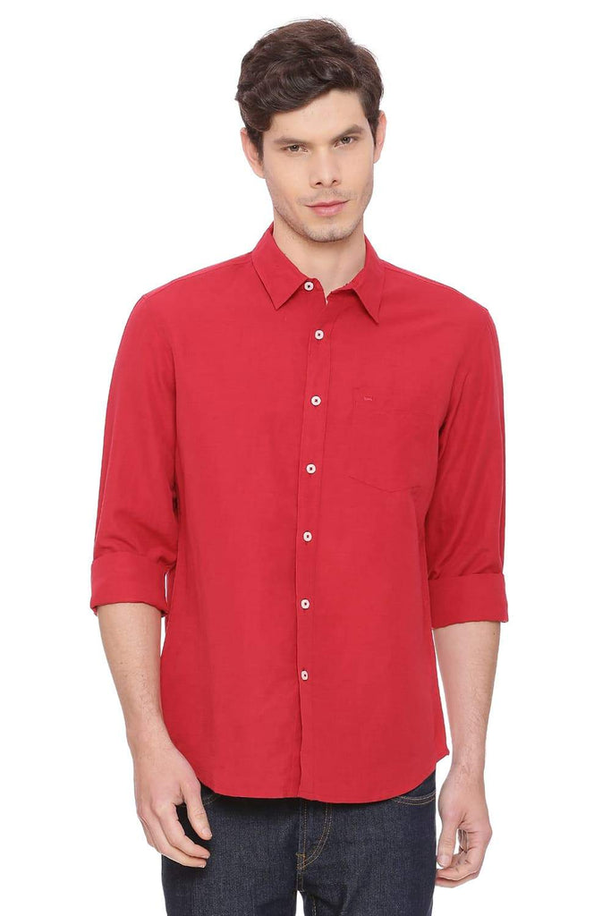 BASICS SLIM FIT CRIMSON RED COTTON LINEN SHIRT-18BSH38574 (4491213406289)