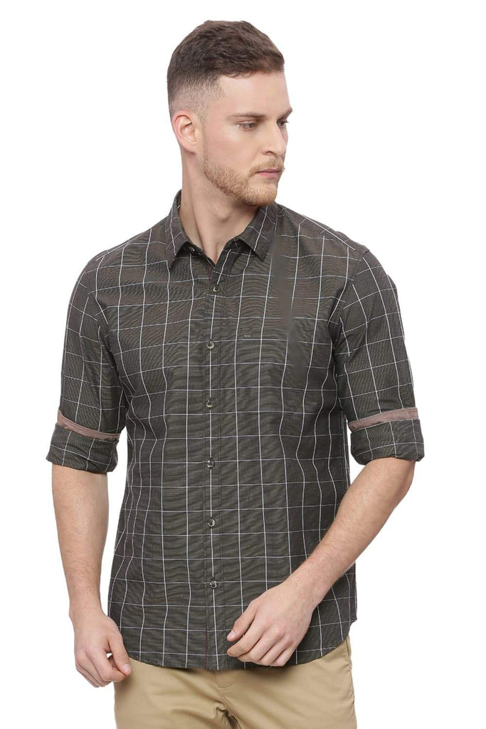 Basics Slim Fit Cub Brown Checks Shirt Front
