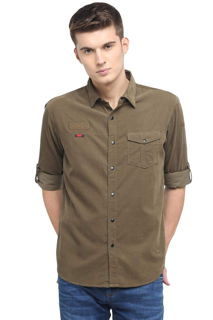 BASICS SLIM FIT CYPRESS GREEN CORDUROY SHIRT-18BSH38663 - BasicsLife