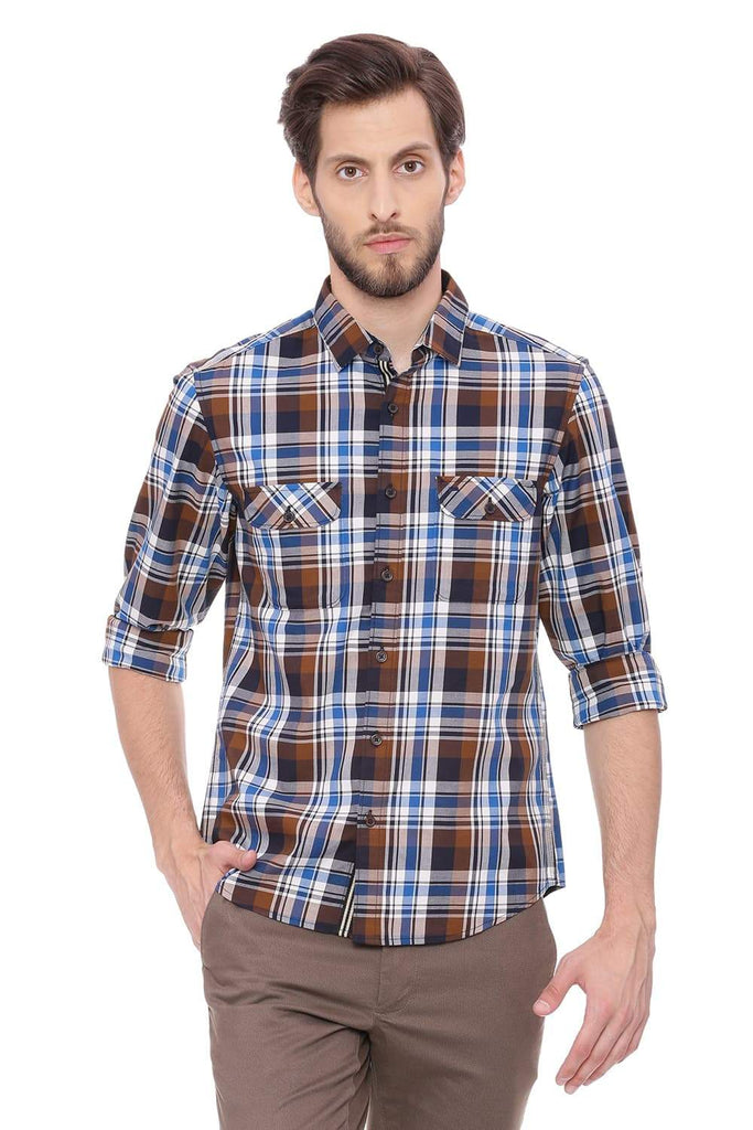 Basics Slim Fit Dachshund Brown Checks Shirt Front