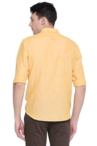 BASICS SLIM FIT DAFFODIL YELLOW COTTON LINEN SHIRT-20BSH43357 - BasicsLife