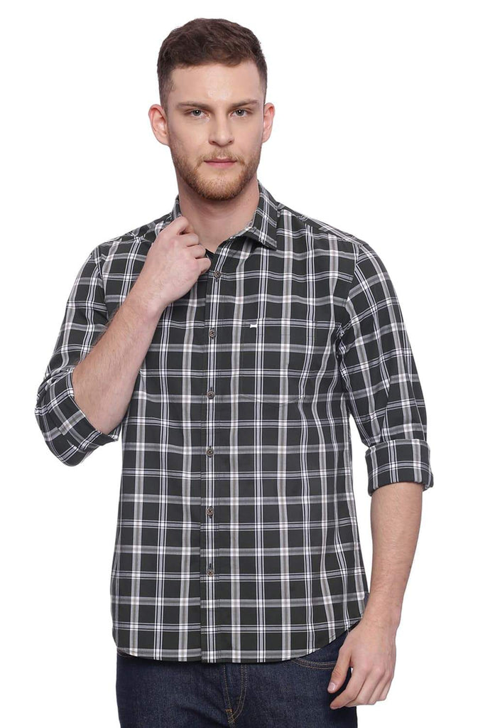BASICS SLIM FIT DARK FOREST CHECKS SHIRT-18BSH37756 (4491002347601)