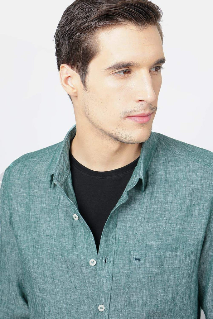 BASICS SLIM FIT DARK GREEN LINEN SHIRT-17BCSH38141 (4490953064529)