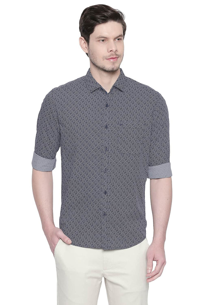 BASICS SLIM FIT DARK NAVY PRINTED SHIRT-20BSH43047 (4491866734673)