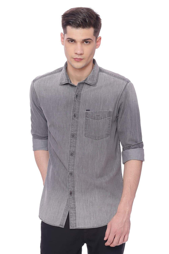 Basics Slim Fit Dark Shadow Grey Denim Shirt Front