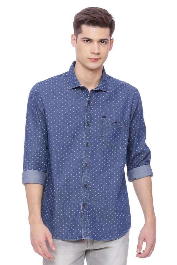 Basics Slim Fit Dark Navy Printed Shirt Front