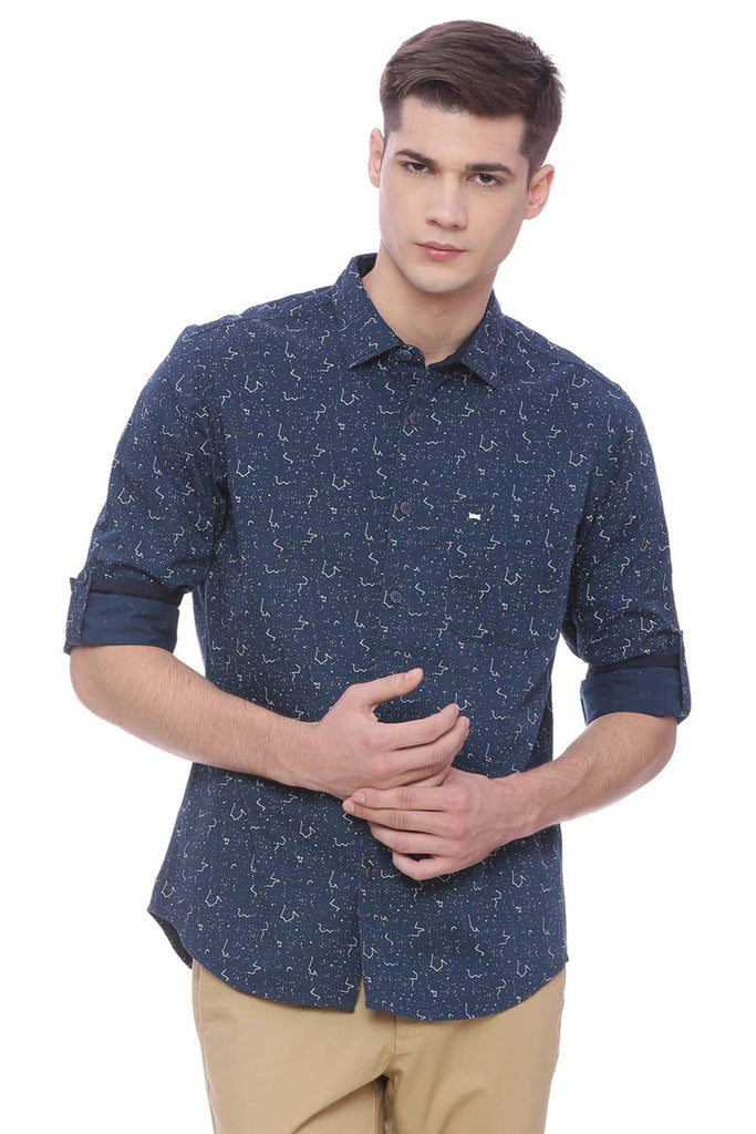 BASICS SLIM FIT DARKSLATE NAVY PRINTED SHIRT-18BSH37405 (4491070373969)