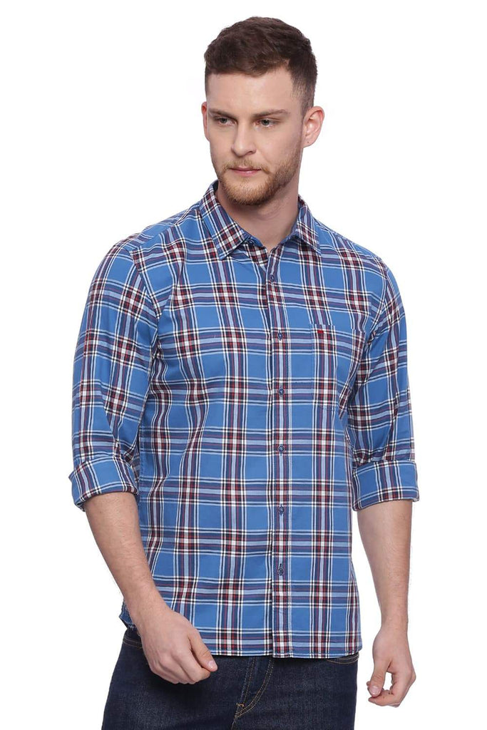 Basics Slim Fit Deep Water Blue Checks Shirt Front