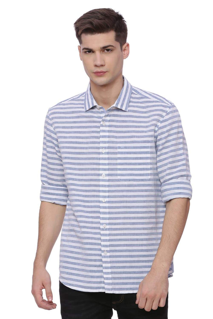 BASICS SLIM FIT DEEP WATER WEFT STRIPES SHIRT-18BSH37209