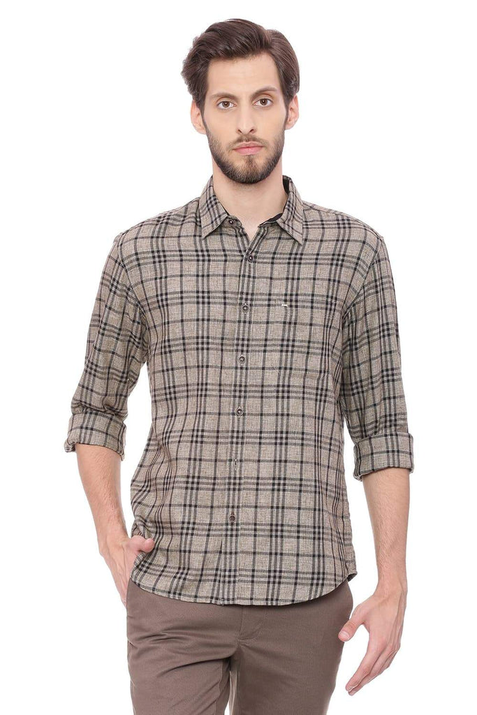 BASICS SLIM FIT DESERT KHAKI CHECKS SHIRT-18BSH38815 (4491396841553)
