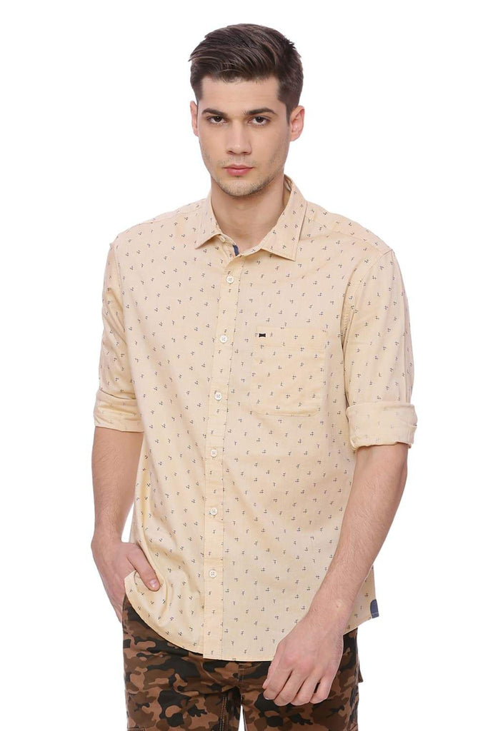BASICS SLIM FIT DESERT MIST PRINTED SHIRT-18BSH37119