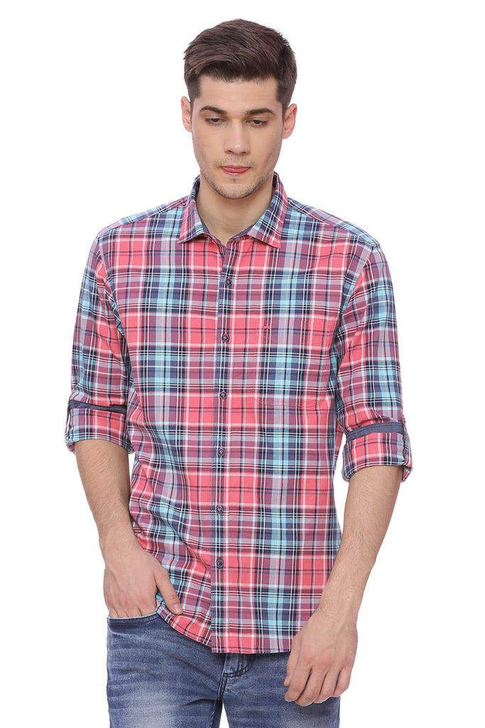 BASICS SLIM FIT DESERT PINK CHECKS SHIRT-18BSH37745