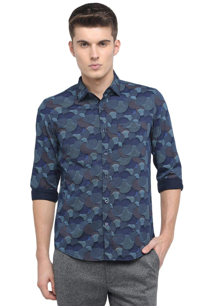 BASICS SLIM FIT DREAM BLUE PRINTED SHIRT-18BSH39135 (4491554881617)