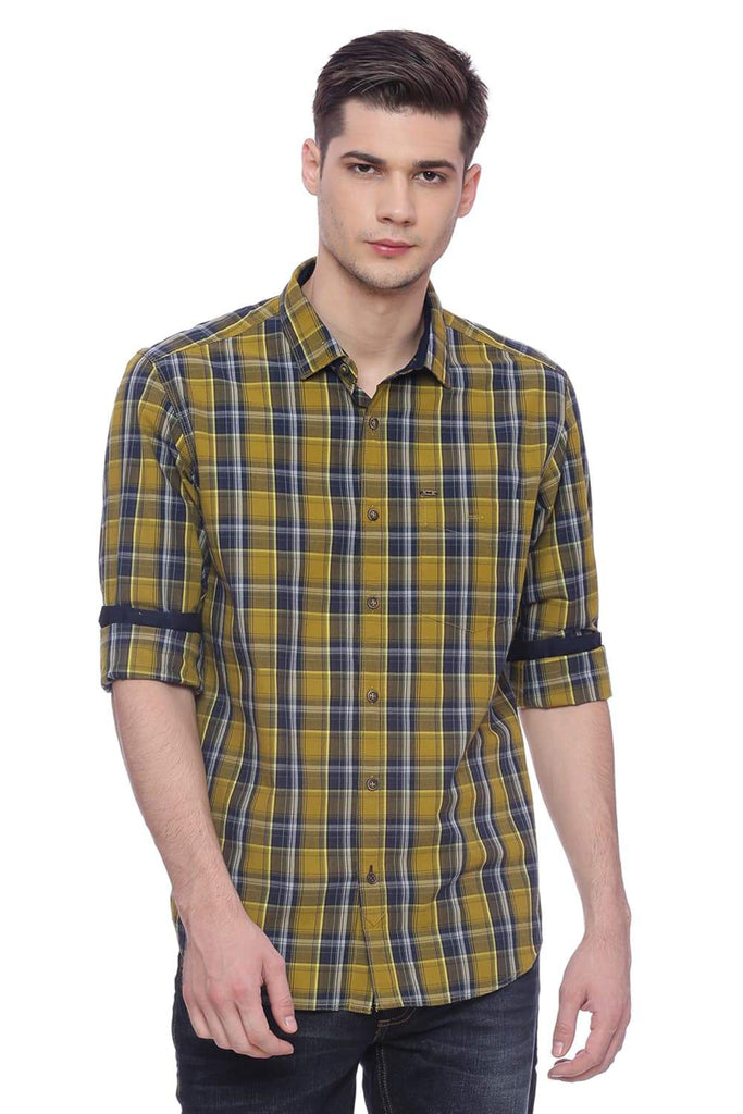 BASICS SLIM FIT DRIED TOBACCO CHECKS SHIRT-18BSH37289 (4491063885905)