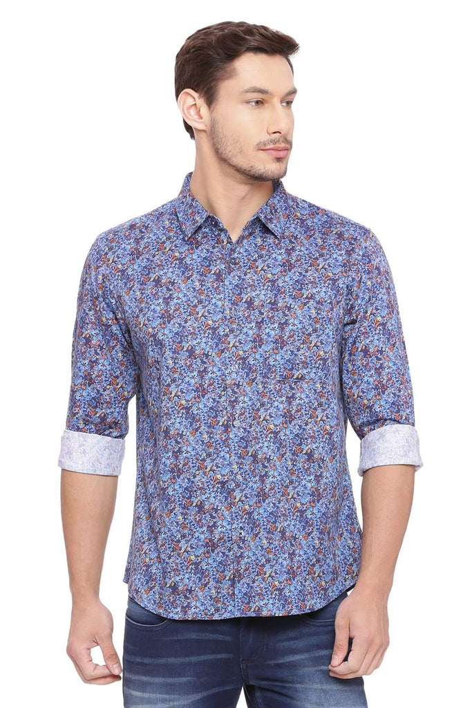 Basics Slim Fit Dusk Blue Shirt Front