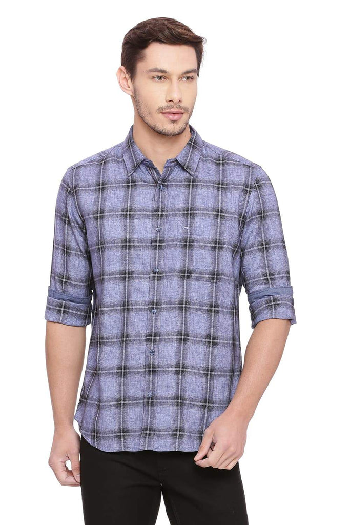 BASICS SLIM FIT DUSTED PURPLE CHECKS SHIRT-18BSH38836 - BasicsLife