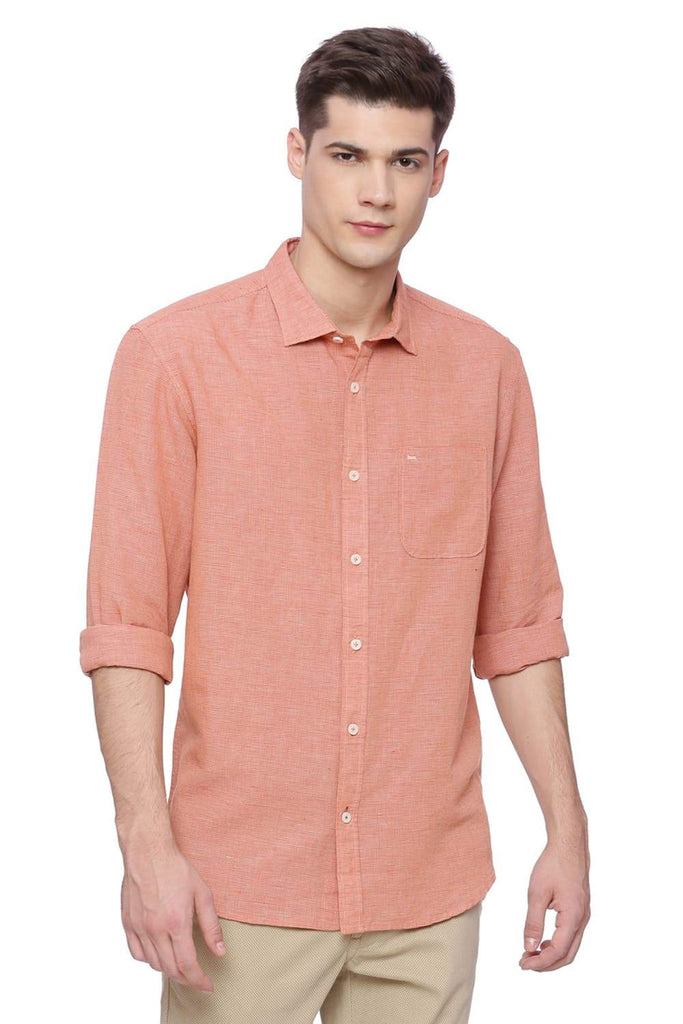 BASICS SLIM FIT DUSTY ORANGE CHECKS SHIRT-18BSH38244 (4491097473105)