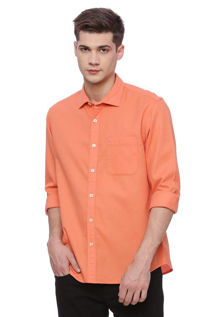 BASICS SLIM FIT DUSTY ORANGE DOBBY SHIRT-18BSH37744 (4491050942545)