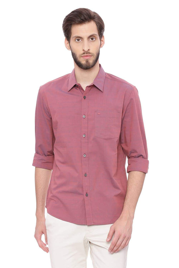 BASICS SLIM FIT EARTH RED CHAMBRAY SHIRT-18BSH39005 (4491504877649)