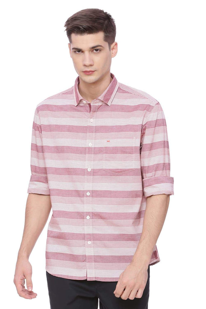 BASICS SLIM FIT EARTH RED STRIPES SHIRT-18BSH37388 (4491067654225)