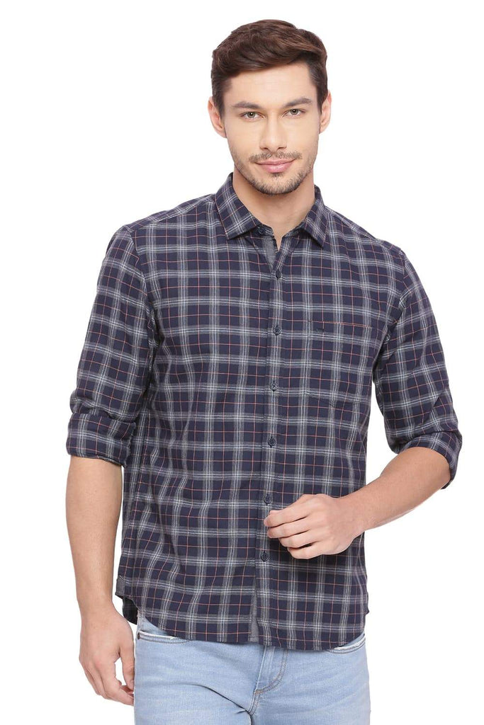 Basics Slim Fit Ebony Navy Checks Shirt Front