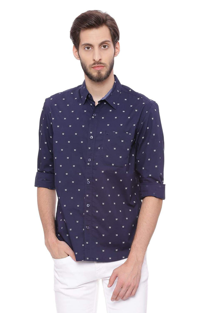 Basics Slim Fit Eclipse Navy Printed Shirt Front