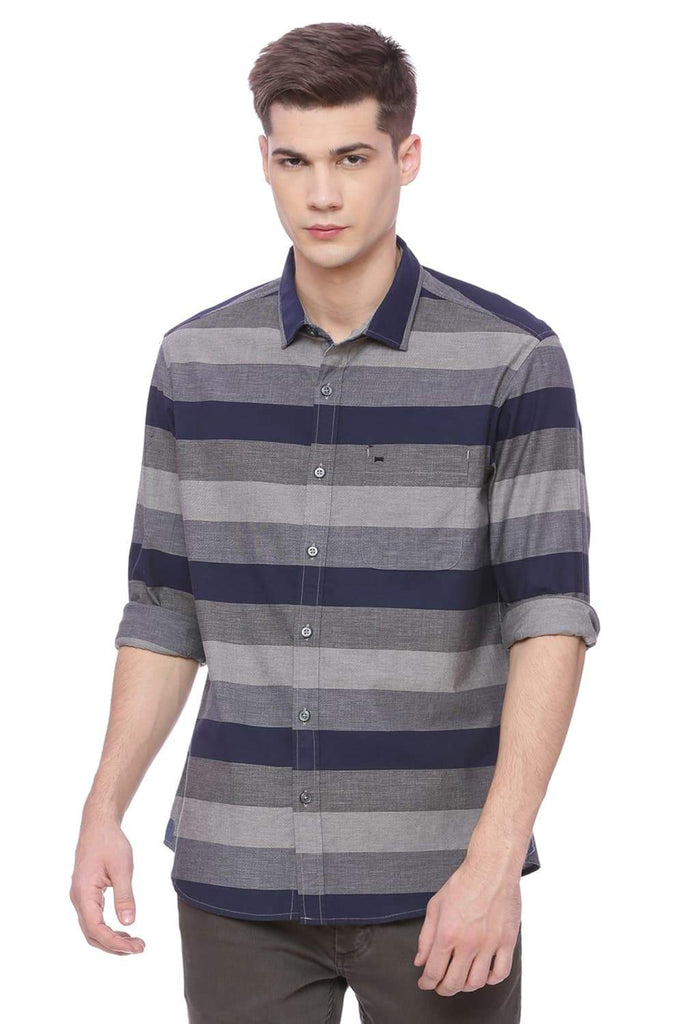 BASICS SLIM FIT ECLIPSE NAVY WEFT STRIPES SHIRT-18BSH37100 (4491026628689)