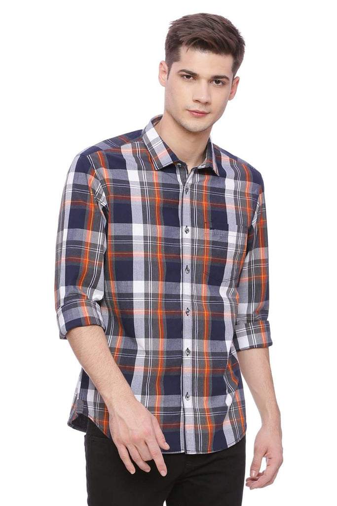BASICS SLIM FIT EMBERGLOW CHECKS SHIRT-18BSH37748 (4491093901393)