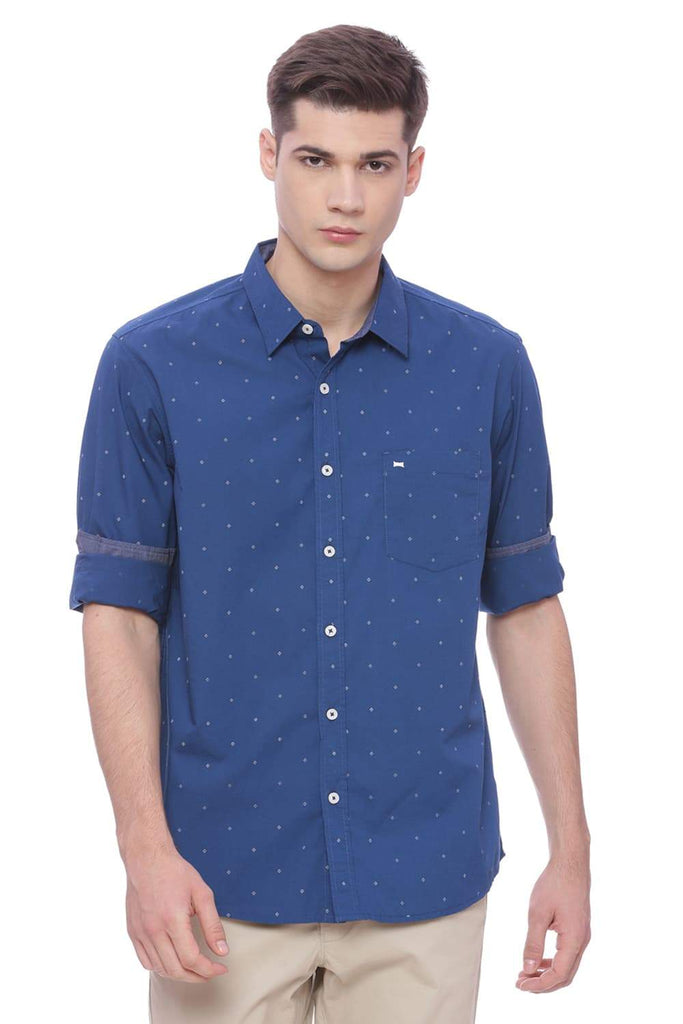 BASICS SLIM FIT ENSIGN BLUE PRINTED SHIRT-18BSH37278 (4491063590993)