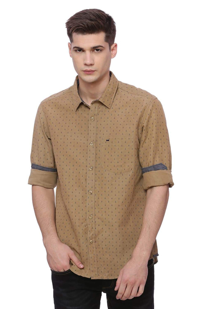 BASICS SLIM FIT ERMINE KHAKI PRINTED SHIRT-18BSH37167 (4491046977617)