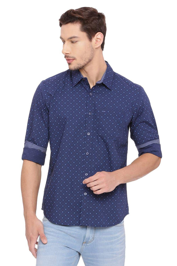 Basics Slim Fit Estate Navy Printed Shirt Front