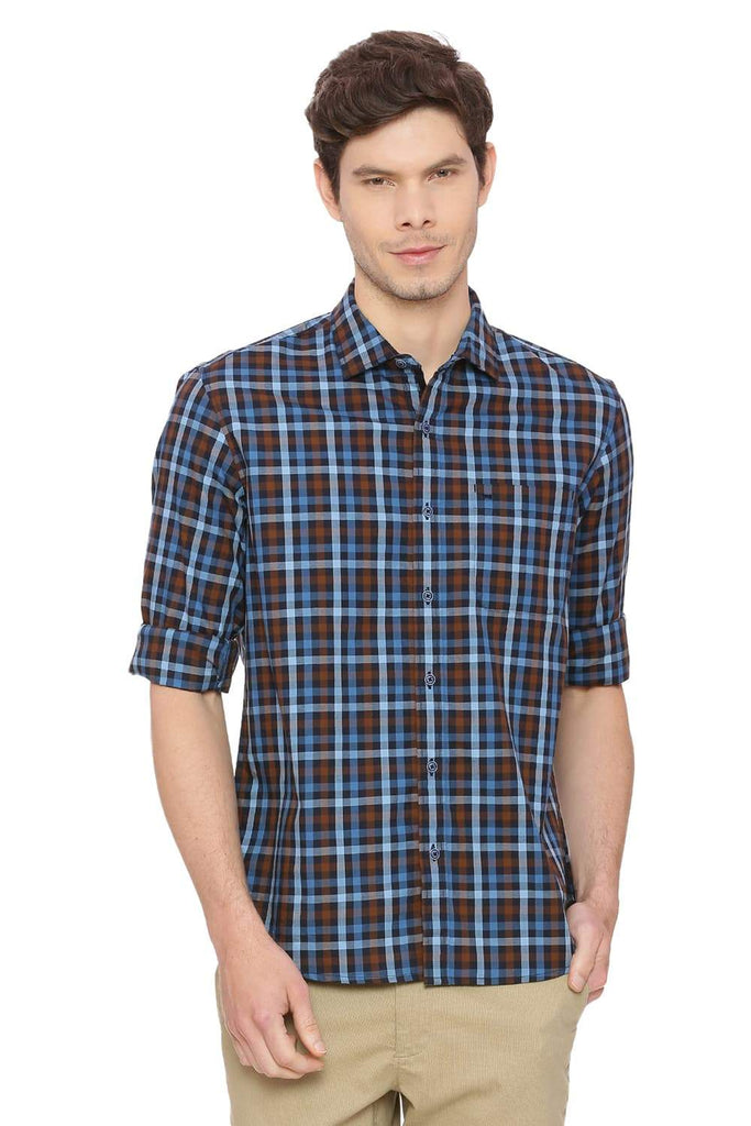 Basics Slim Fit Ethereal Aqua Checks Shirt Front