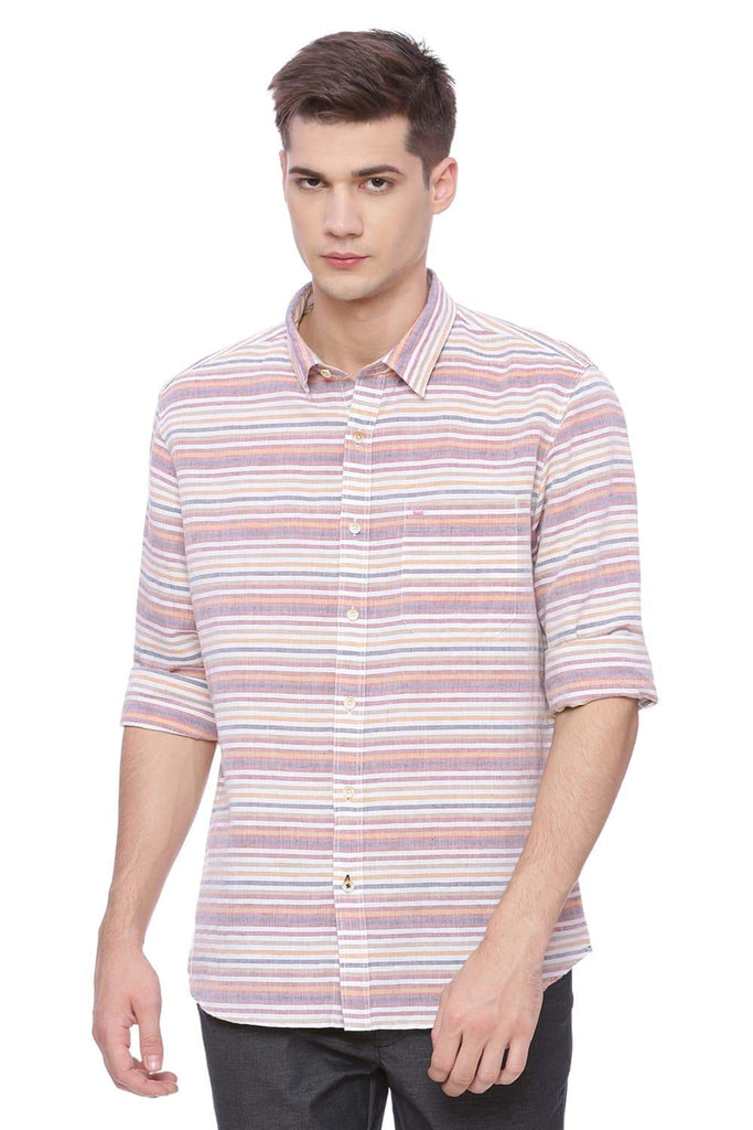 BASICS SLIM FIT ETRUSCAN RED WEFT STRIPES SHIRT-18BSH37176