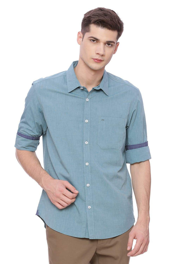 BASICS SLIM FIT EVERGLADE GREEN FIL A FIL SHIRT-18BSH37303 (4490984620113)