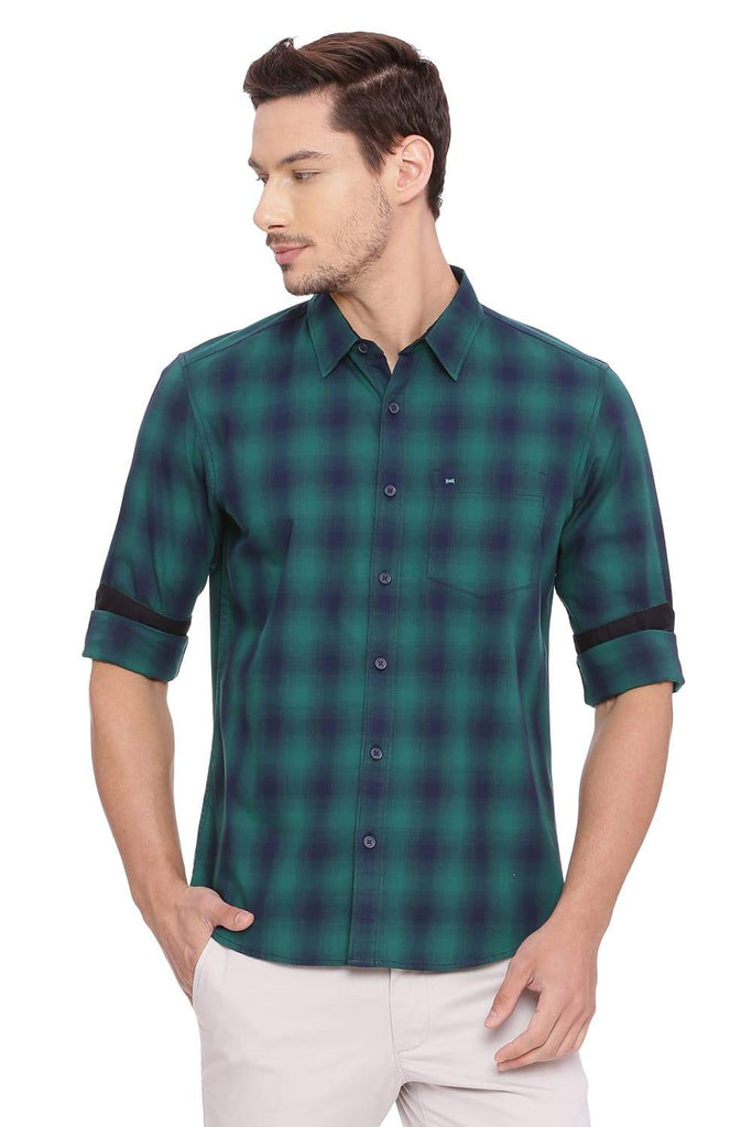 BASICS SLIM FIT EVERGREEN CHECKS SHIRT-18BSH38923